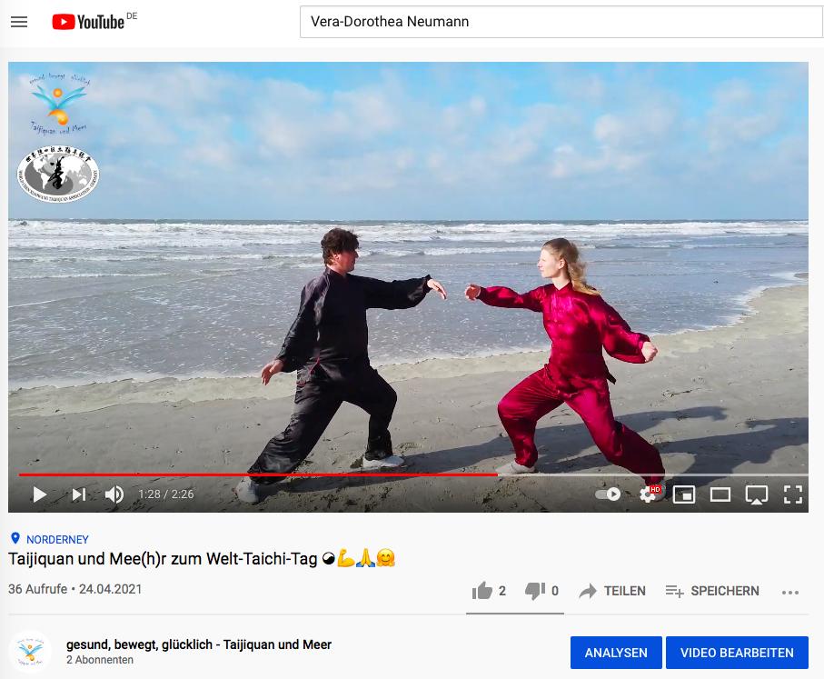 Taijiquan und Meer auf YouTube